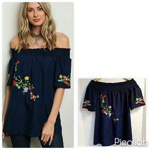 Tops - Blue Embroidered Off-Shoulder blouse